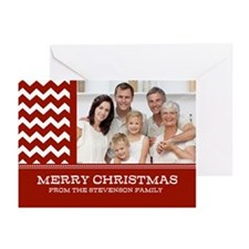 Red Chevron Christmas Greeting Cards (Pk of 20)