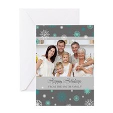 Grey Christmas Family Photo Greeting Card