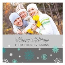 Grey Family Christmas Photo Invitations