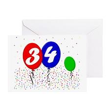 34bdayballoon3x4 Greeting Card