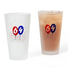 64bdayballoonbtn Drinking Glass