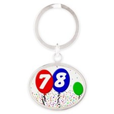 78_bdayballoon3x4 Oval Keychain