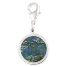 Waterlilies by Claude Monet Silver Round Charm