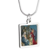 Wise Men Visit Silver Square Necklace