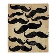 Many Manly Mustaches Throw Blanket