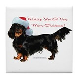 &quot;Dachshund Christmas&quot; Tile Coaster