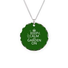 Keep Calm and Garden On Necklace Circle Charm