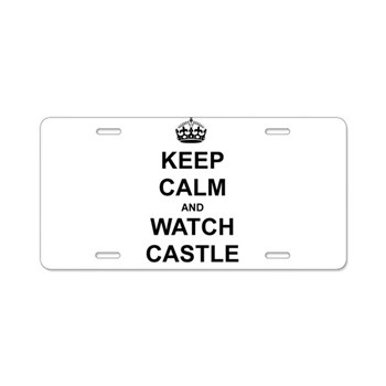 """Keep Calm And Watch Castle"" Aluminum License Plat"