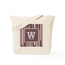 Pink - Brown Stripe Monogram Tote Bag