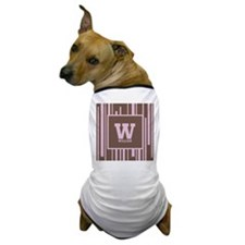 Pink - Brown Stripe Monogram Dog T-Shirt