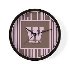 Pink - Brown Stripe Monogram Wall Clock