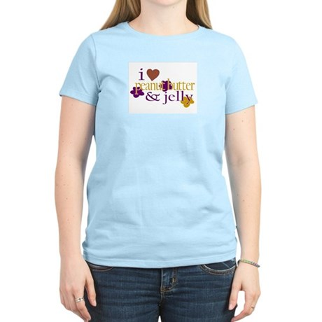 I Love Peanut Butter & Jelly Women's Pink T-Shirt