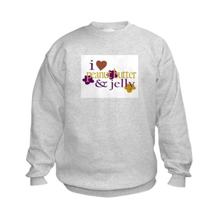 I Love Peanut Butter & Jelly Kids Sweatshirt