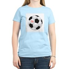 I Love Soccer Women's Pink T-Shirt