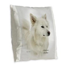American Eskimo Dog Burlap Throw Pillow