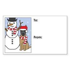 Belgian Malinois Winter Gift Tag Decal