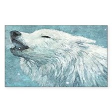 Howling White Wolf Decal
