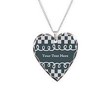 Custom Text Decorative Checkered Necklace