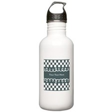 Custom Text Decorative Checkered Water Bottle