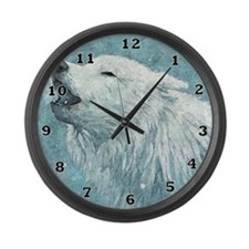 Howling White Wolf Large Wall Clock
