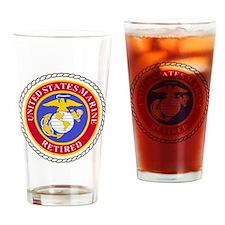 USMCRetiredSealBonnieBlueAndRedX.gi Drinking Glass