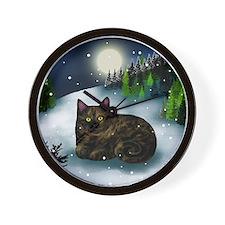 TORTOISESHELL CAT WINTER MOUNTAIN Wall Clock