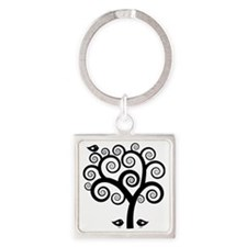 Trees Square Keychain