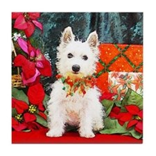 West Highland Westie Christmas Tile Coaster