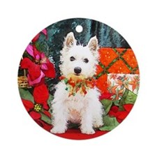 West Highland Westie Christmas Ornament (Round)