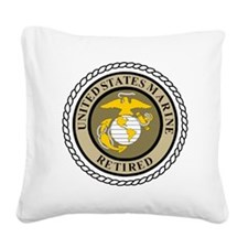 USMC-Retired-Khaki-... Square Canvas Pillow