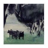 Horses in the Mist Tile Coaster