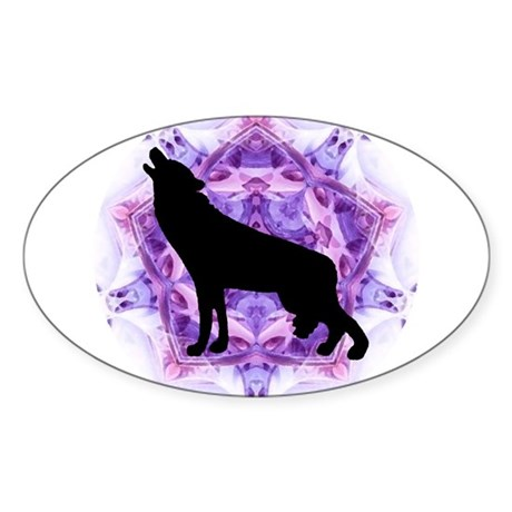 Wolf Oval Sticker