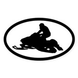 Snowmobile Oval Bumper Stickers