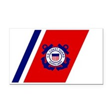 USCGAux-Racing-Stripe-Black-C Rectangle Car Magnet