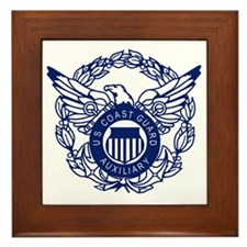 USCGAux-Eagle-Blue-X.gif Framed Tile