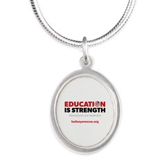 Education is Strength Silver Oval Necklace