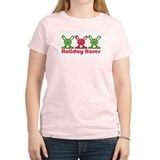 Holiday Hares Women's Pink T-Shirt