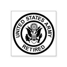 "Army-Retired-Black-White.gi Square Sticker 3"" x 3"""