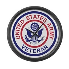 Army-Veteran-Patch-Red-Blue Large Wall Clock