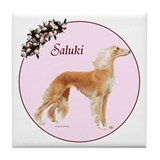 """Saluki in Pink"" Tile Coaster"