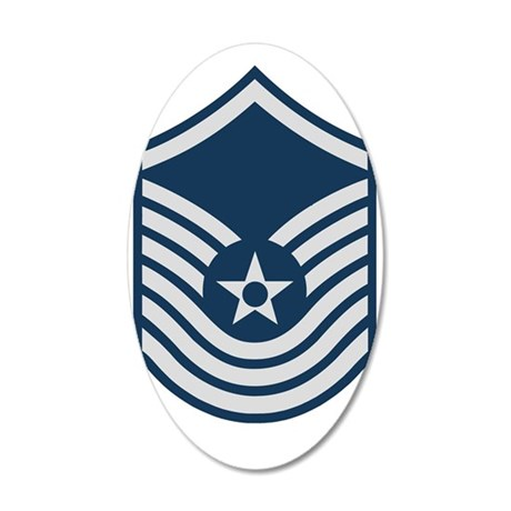 USAF-SMSgt-Old-Blue-For-Khak 35x21 Oval Wall Decal