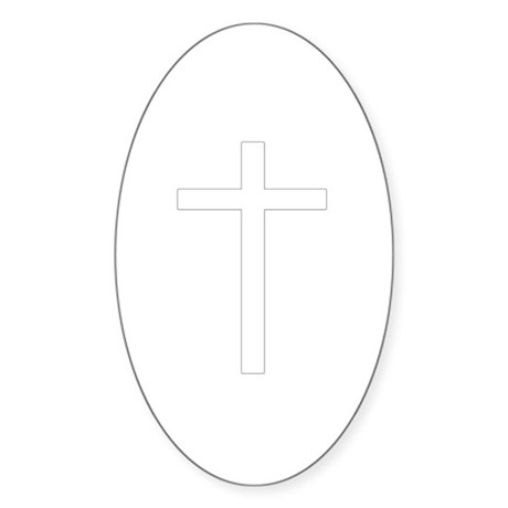 Simple Cross Oval Sticker
