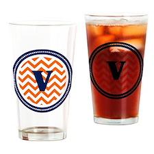 Orange Chevron V Monogram Drinking Glass