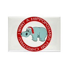 Christmas Hippo Rectangle Magnet
