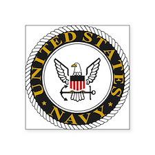 "Navy-Logo-Black-White-Gold Square Sticker 3"" x 3"""