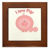 I Love Pigs Framed Tile