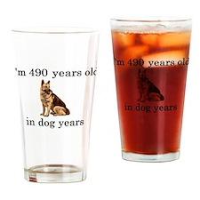 70 birthday dog years german shepherd Drinking Gla