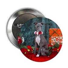 Italian Greyhound Christmas Watercolor Button