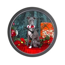 Italian Greyhound Christmas Watercolor Wall Clock