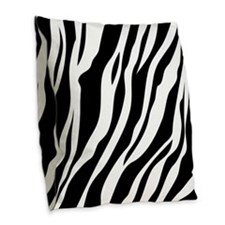 Zebra Print Burlap Throw Pillow
